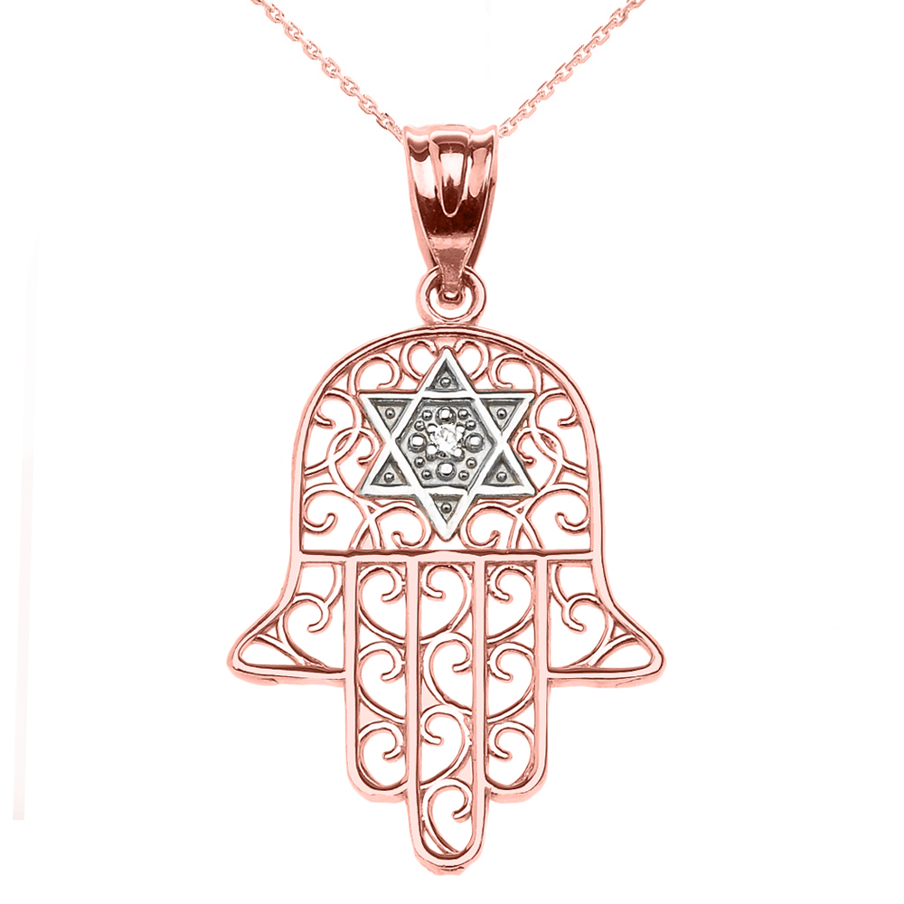 0.01ct Diamond Hamsa Hand Star of David Pendant Necklace in 14K Rose Gold