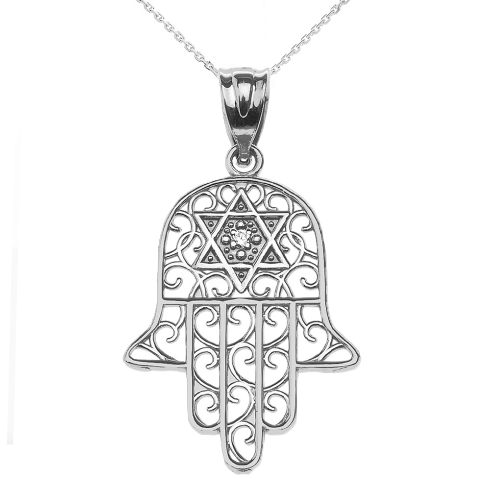 0.01ct Diamond Hamsa Hand Star of David Pendant Necklace in Sterling Silver