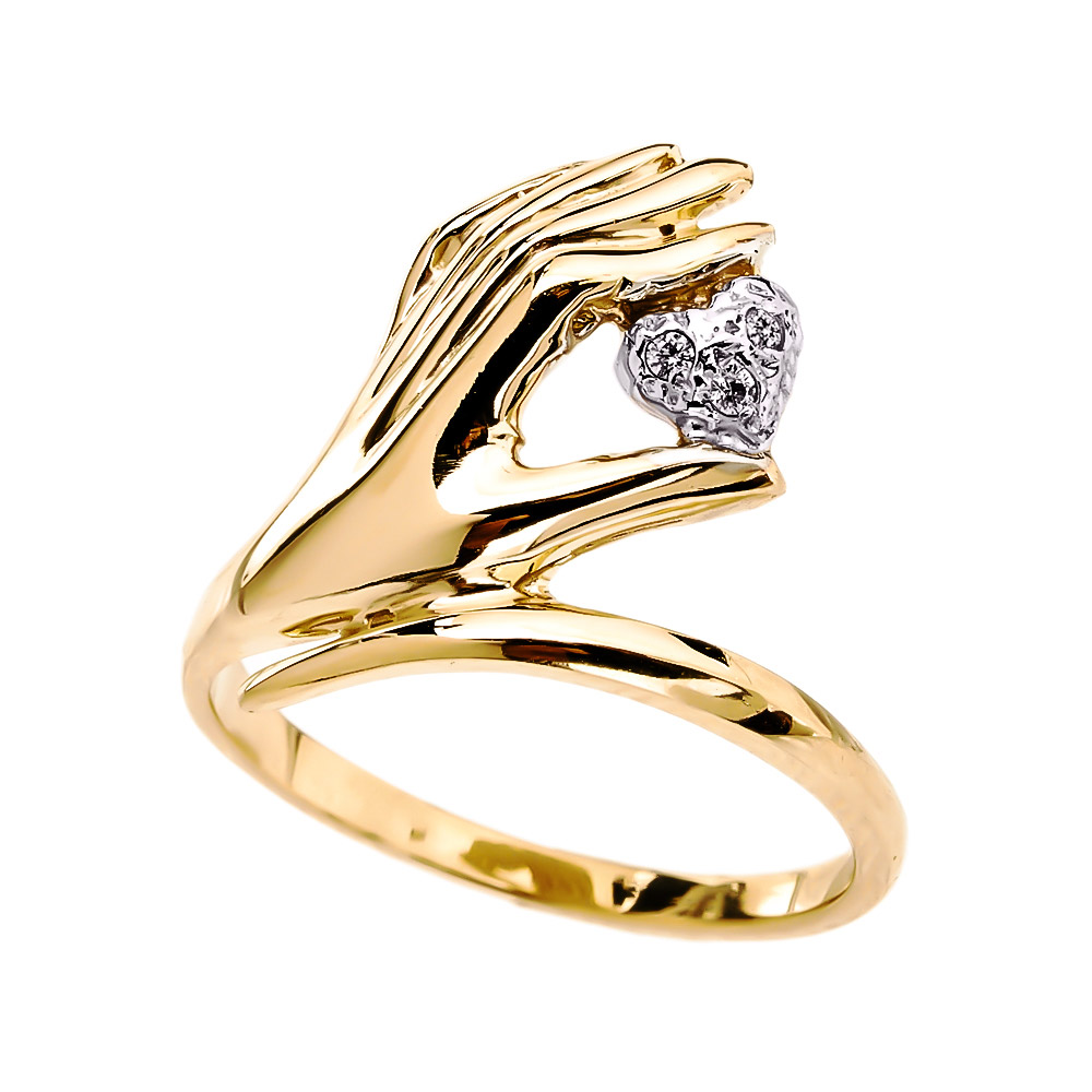 0.01ct Diamond Hand Holding Heart Ring in 14K Gold
