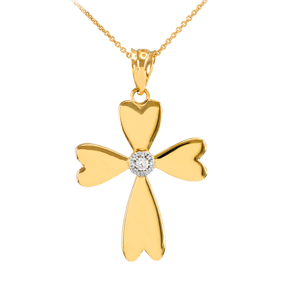 0.019ct Diamond Heart Cross Pendant Necklace in 14K Gold