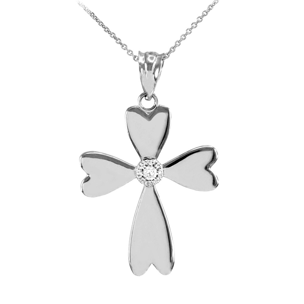 0.019ct Diamond Heart Cross Pendant Necklace in 14K White Gold