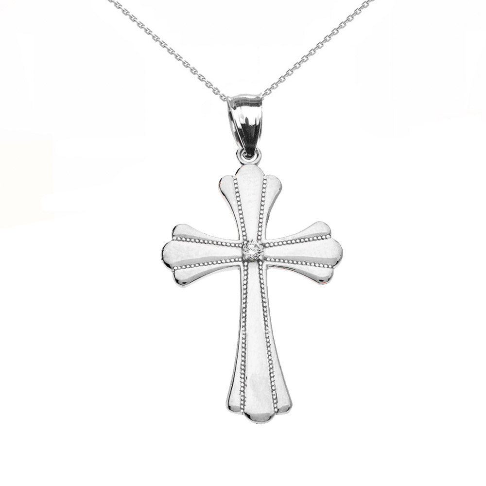 0.017ct Diamond Milgrain Cross Pendant Necklace in Sterling Silver