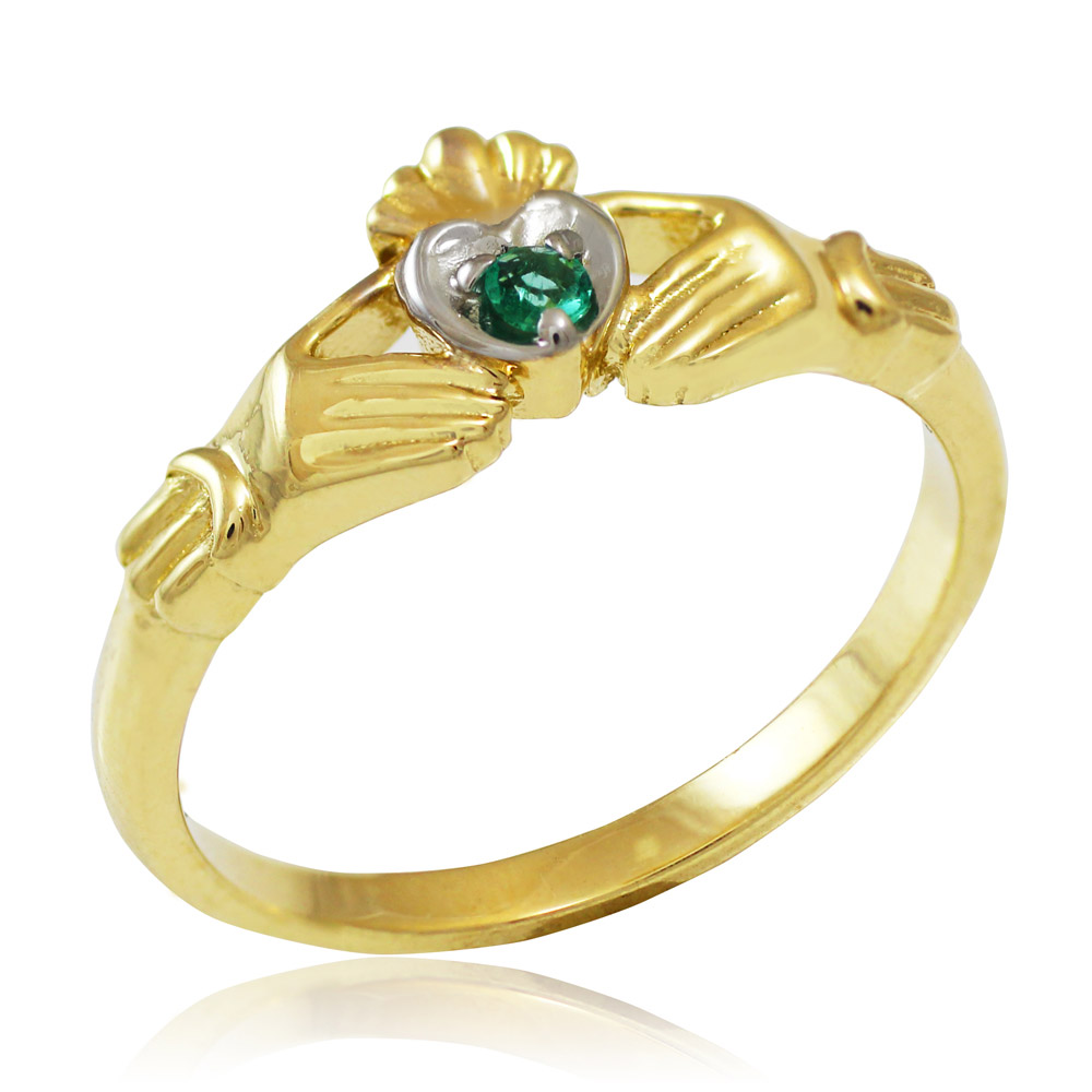 0.05ct Emerald Promise Claddagh Ring in 14K Gold