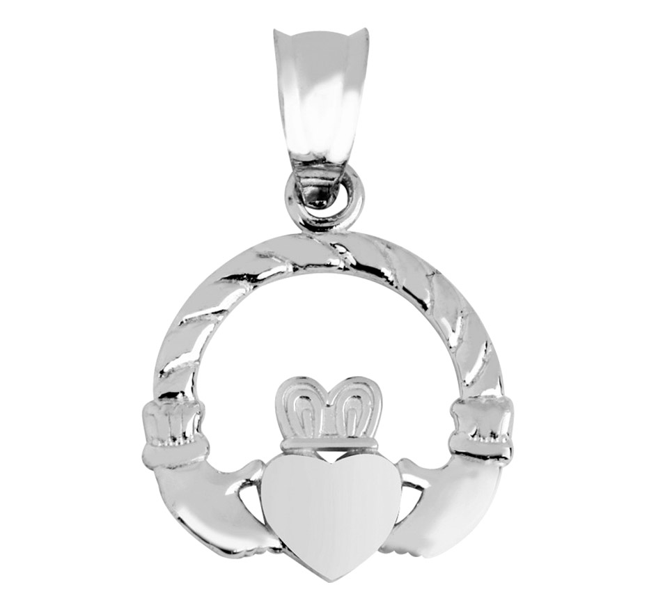 Irish Claddagh Pendant Necklace in 9ct White Gold