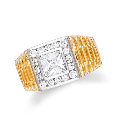 Men's CZ Classic Ring in 9ct Gold