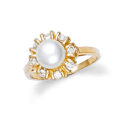 Pearl and CZ Classic Ring in 9ct Gold