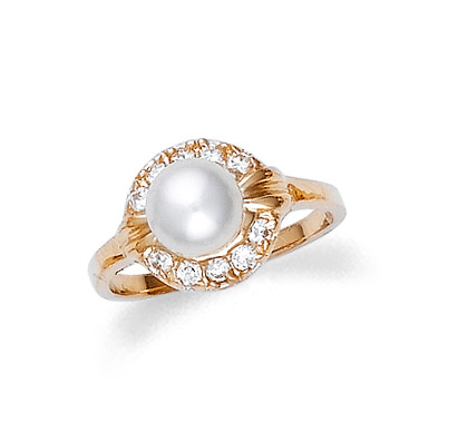 Pearl and CZ Ring in 9ct Gold