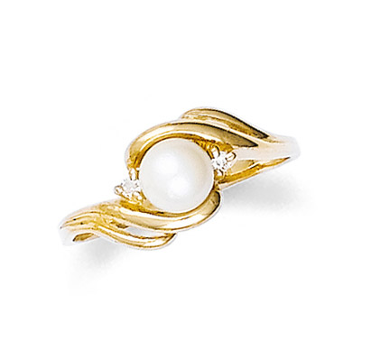 Pearl and Diamond Swirl Ring in 9ct Gold