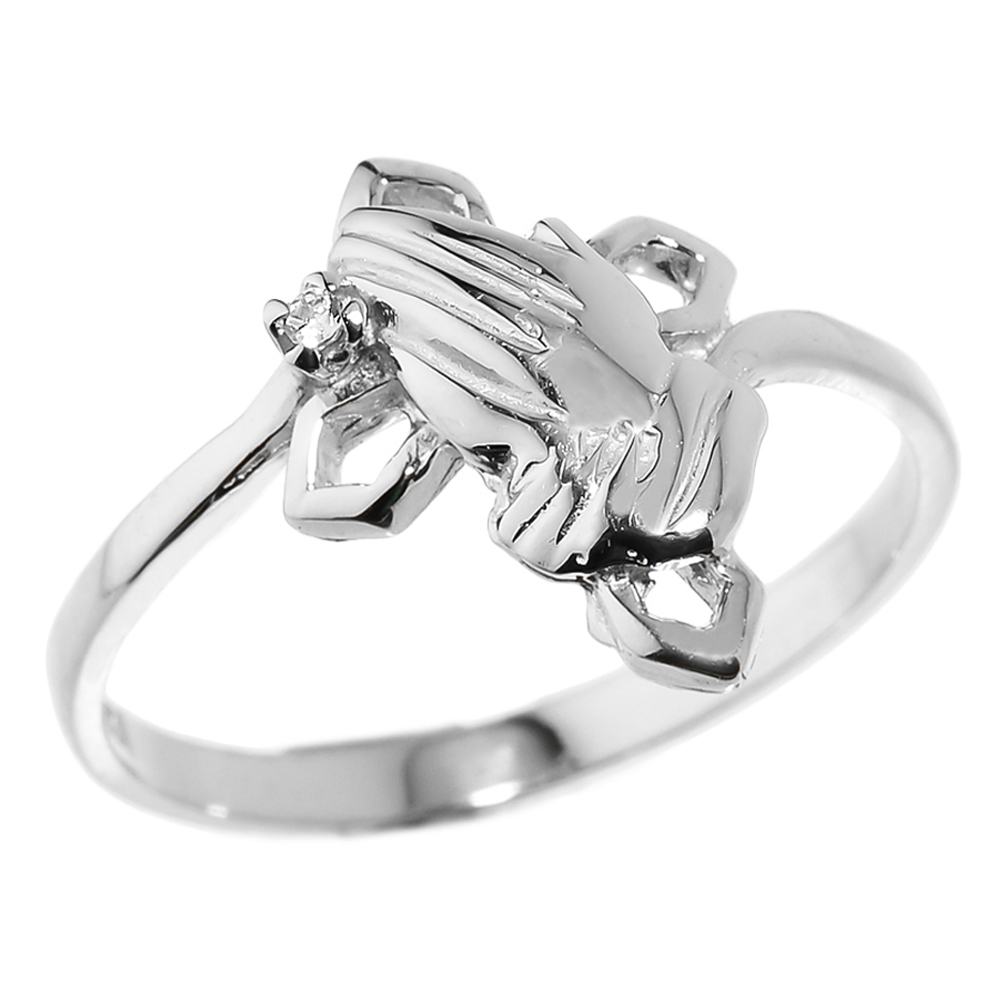 0.01ct Praying Hands Ring in Sterling Silver