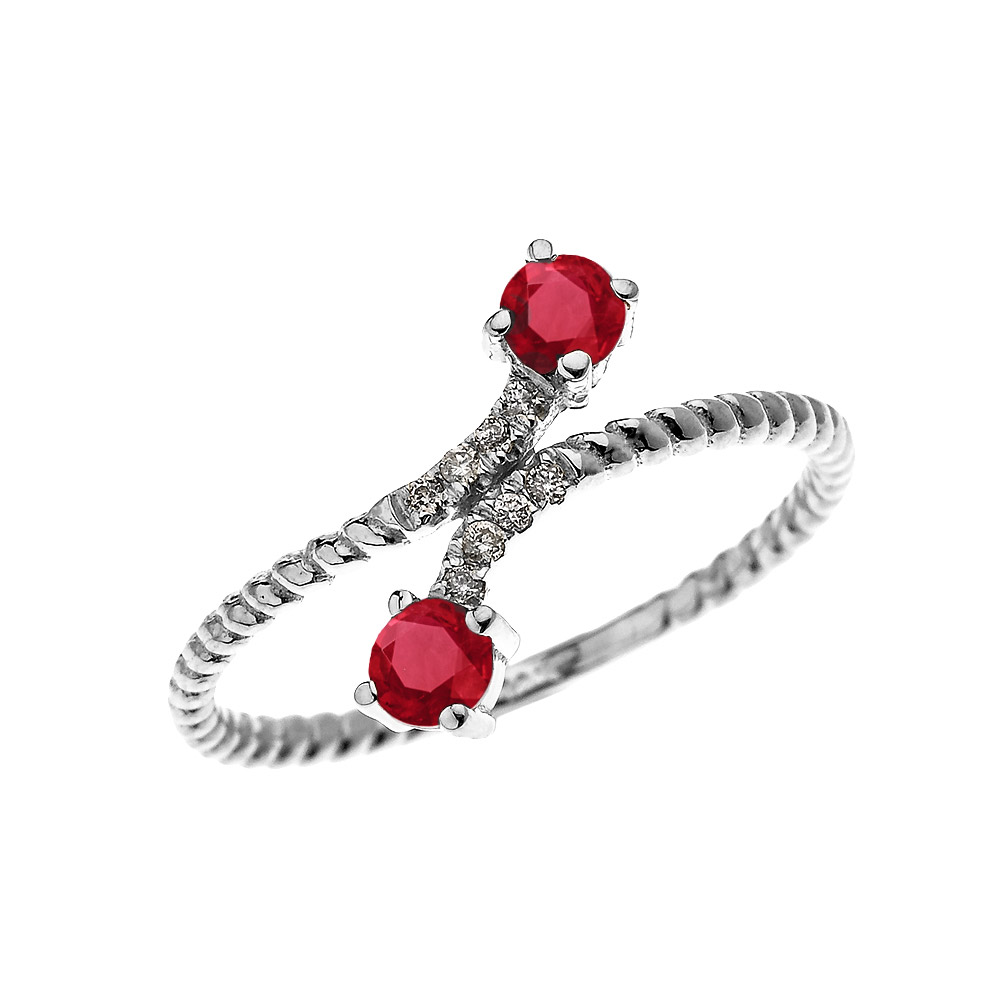 0.16ct Ruby Rope Design Promise Twisted Rope Ring in 14K White Gold