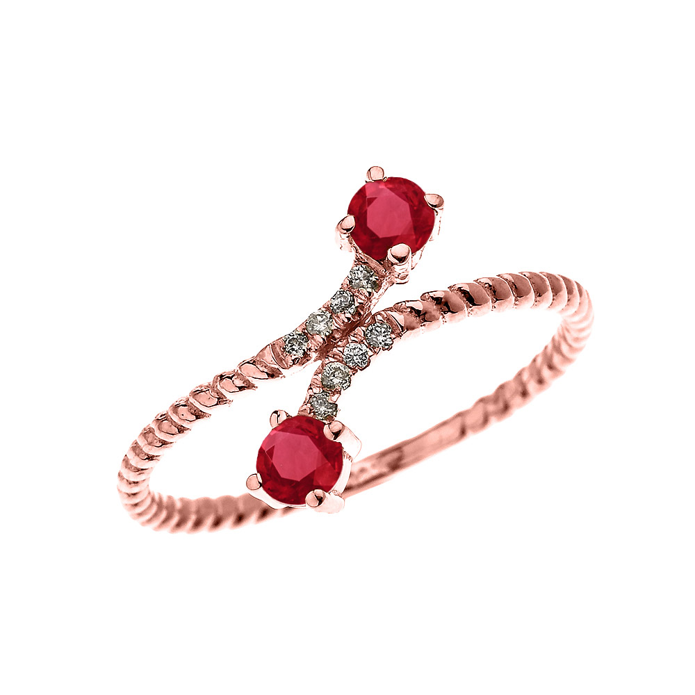 0.16ct Ruby Two Stone Rope Design Promise Twisted Rope Ring in 14K Rose Gold