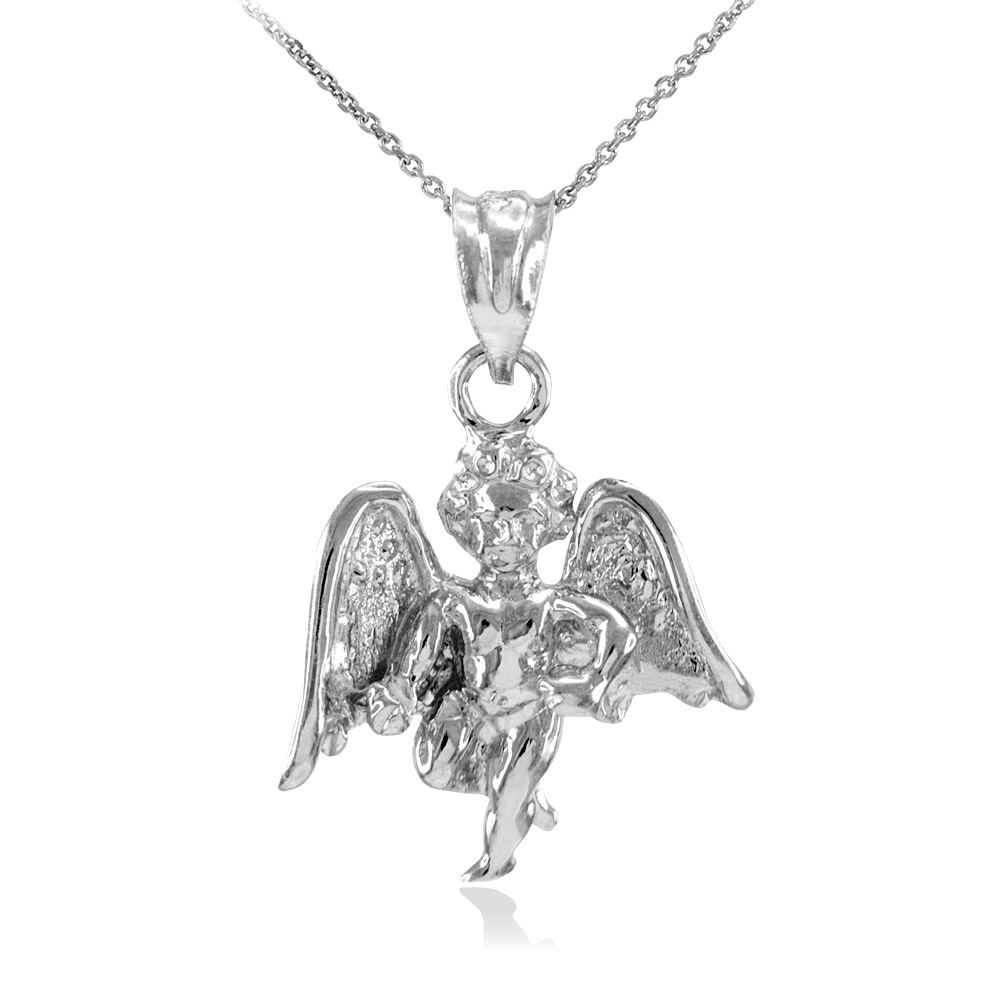Angel pendant necklace in 9ct white gold gold boutique aloadofball Image collections
