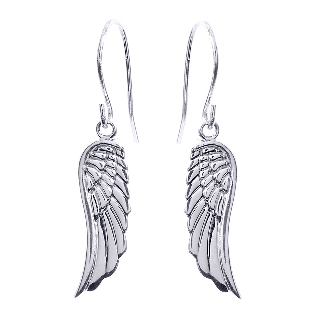 Angel Wings Drop Earrings in Sterling Silver