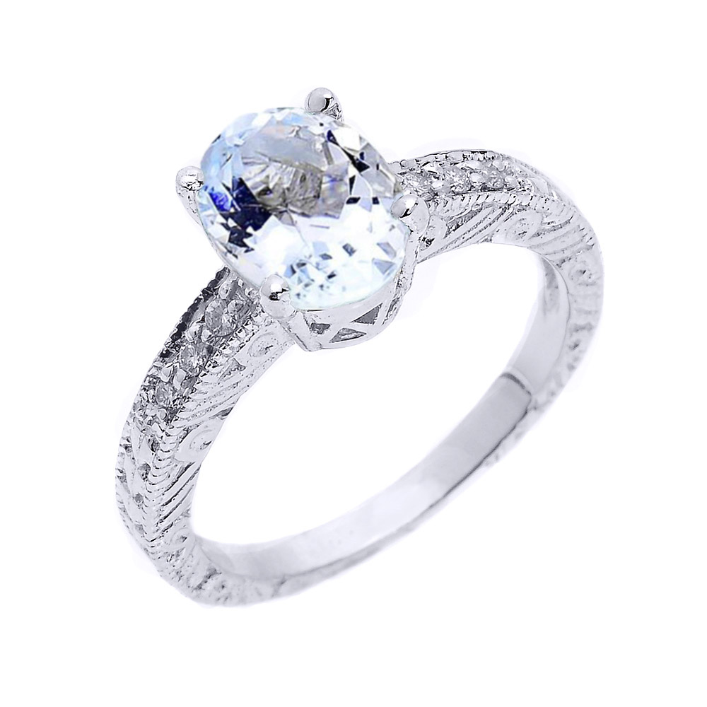 1.12ct Aquamarine and White Topaz Art Deco Engagement Ring in Sterling Silver