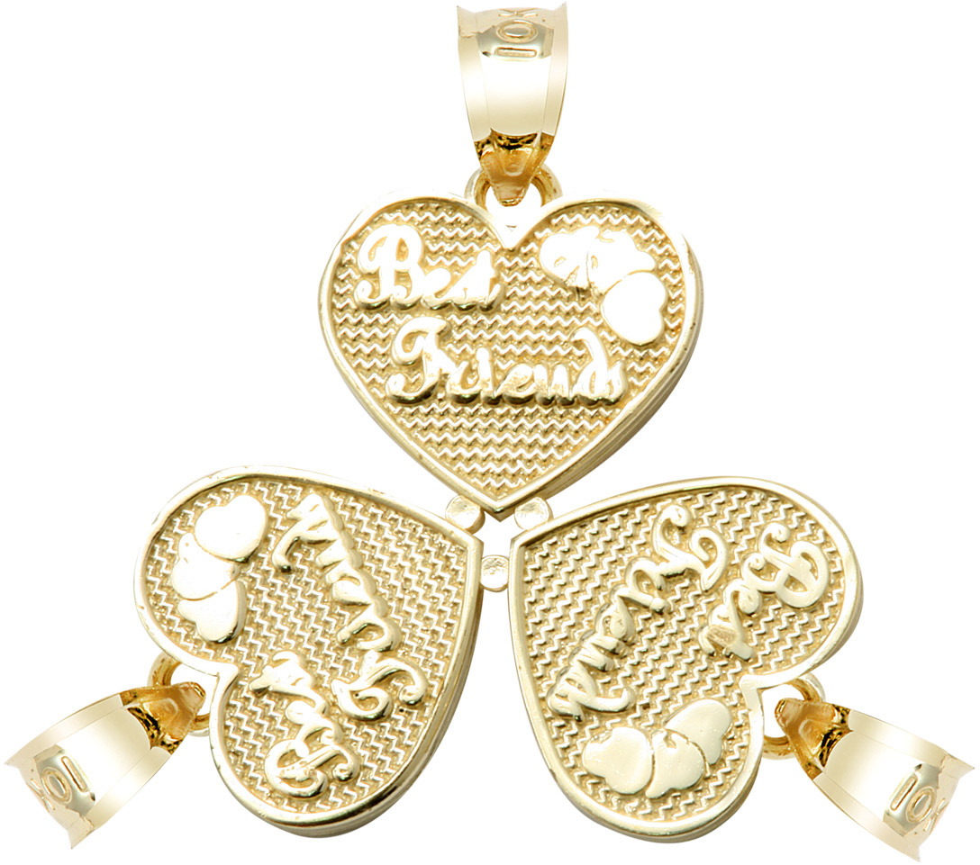 Best friends three breakable hearts pendant necklace in 9ct gold best friends three breakable hearts pendant necklace in 9ct gold gold boutique mozeypictures Images