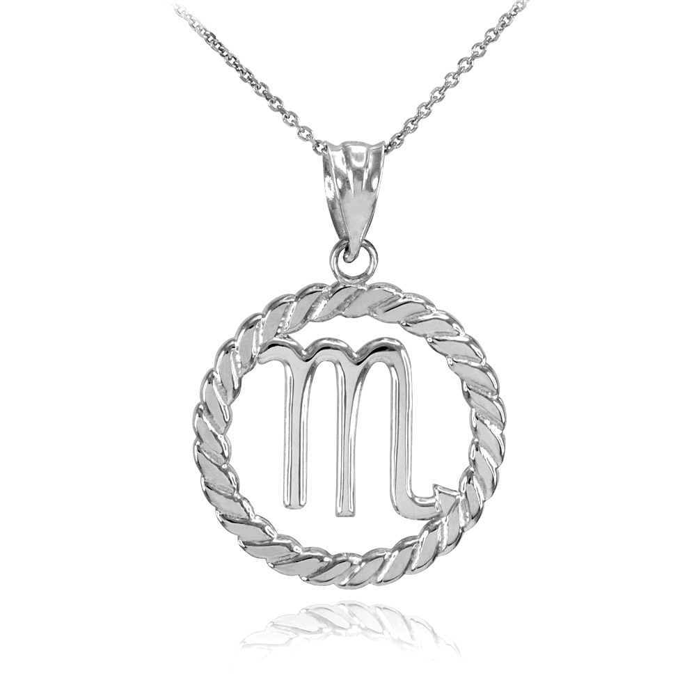pendant boutique gold white necklace circle rope scorpio zodiac in
