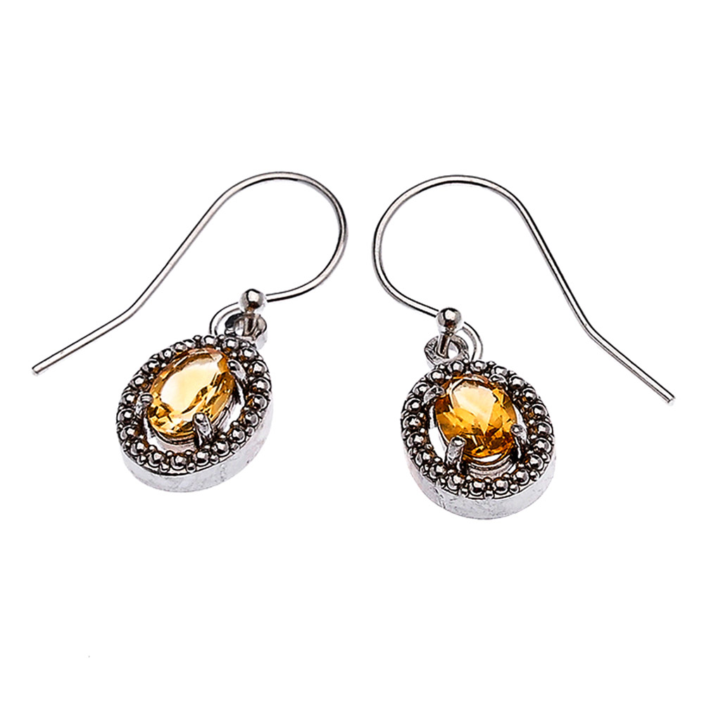 Citrine Oval Drop Earrings in Sterling Silver