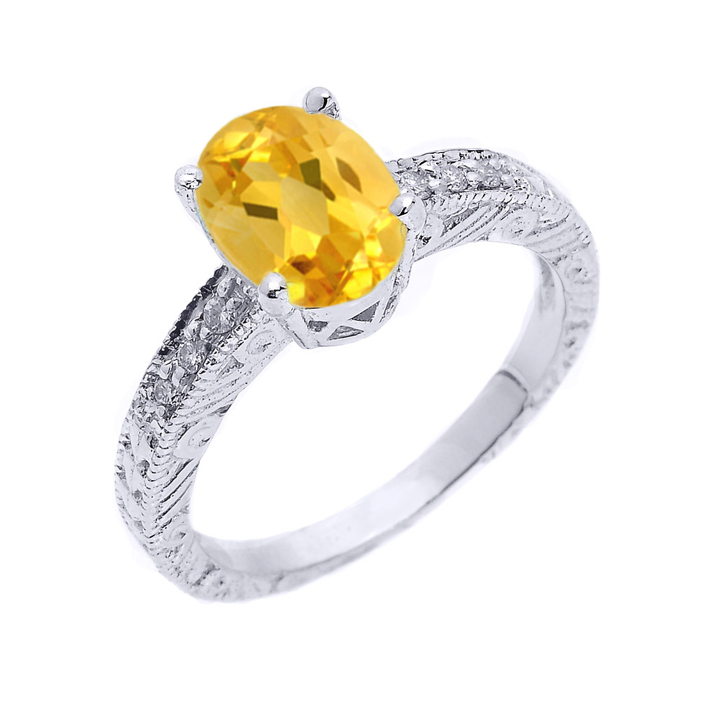 Citrine and White Topaz Art Deco Engagement Ring in Sterling Silver