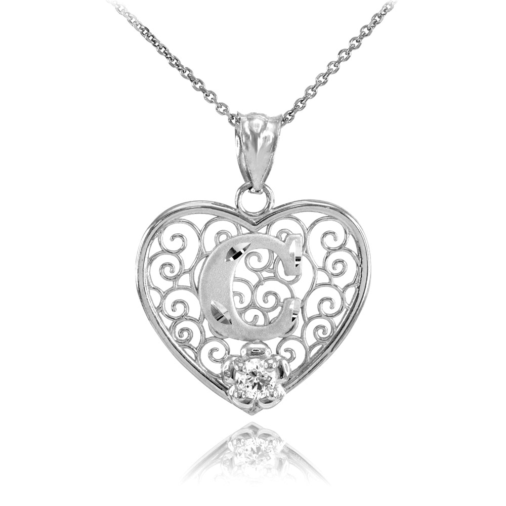 Cz precision cut filigree heart letter c necklace in sterling silver cz precision cut filigree heart letter c necklace in sterling silver gold boutique mozeypictures Image collections