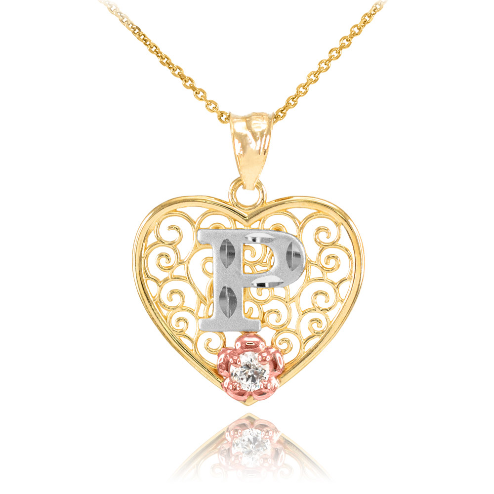 CZ Precision Cut Filigree Heart Letter P Necklace In 9ct Two Tone Gold