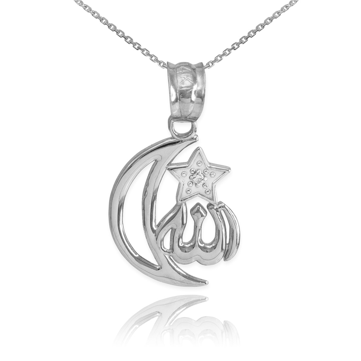 Cz crescent moon allah pendant necklace in sterling silver gold cz crescent moon allah pendant necklace in sterling silver gold boutique aloadofball Image collections