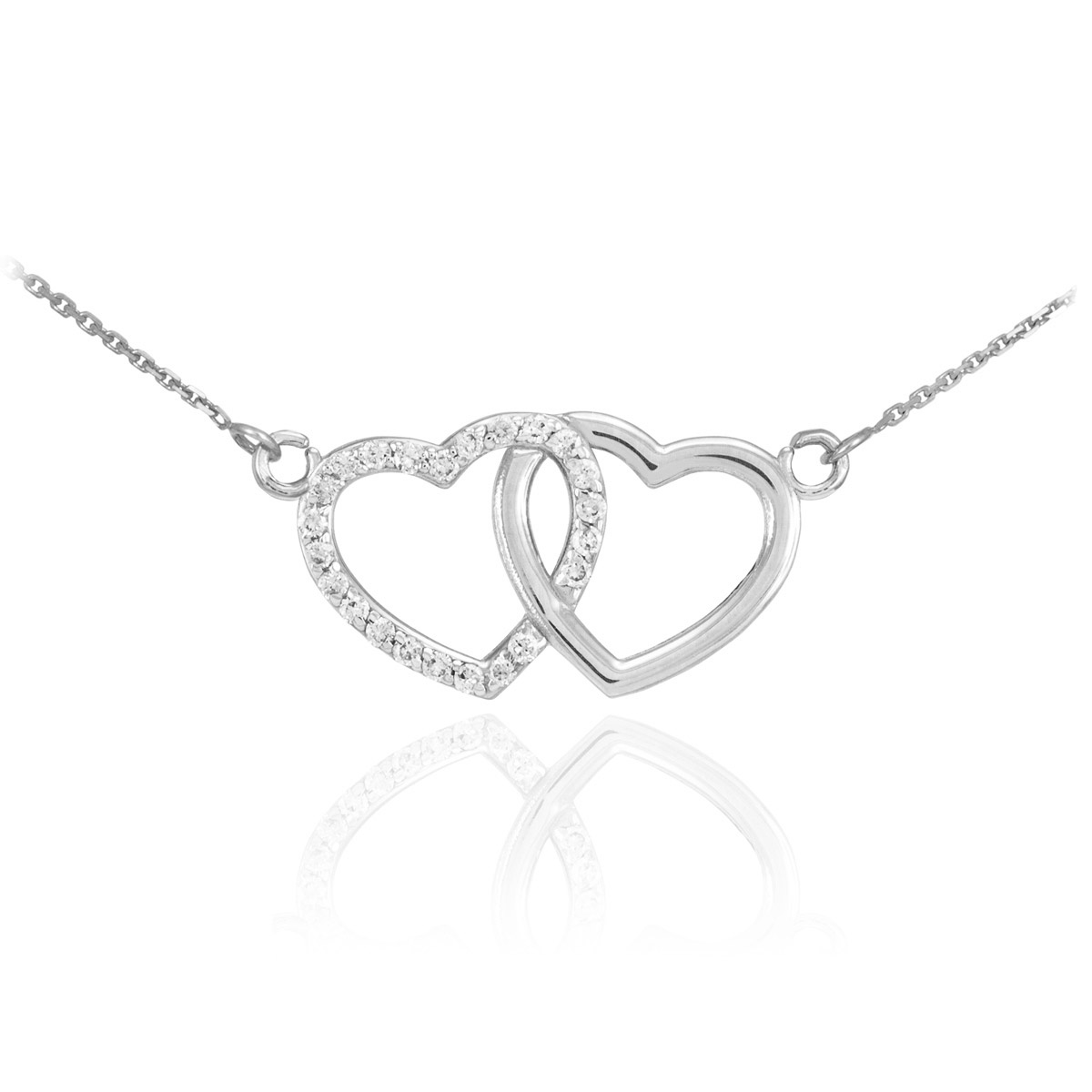 CZ Double Heart Pendant Necklace in Sterling Silver