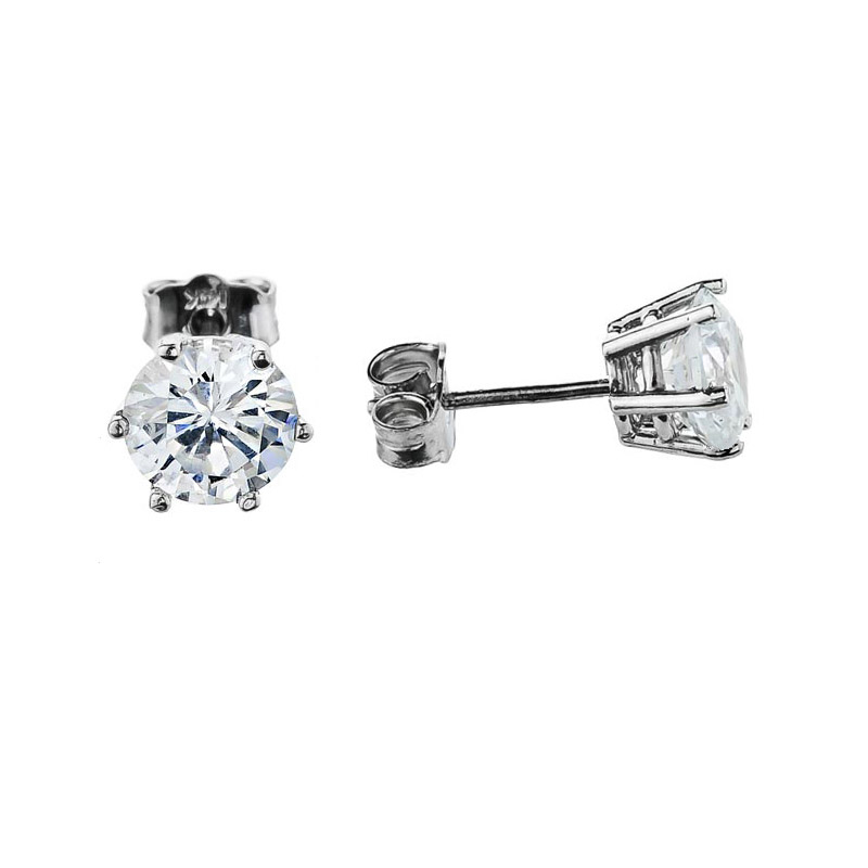 CZ Elegant 6 Prong Stud Earrings in 9ct White Gold