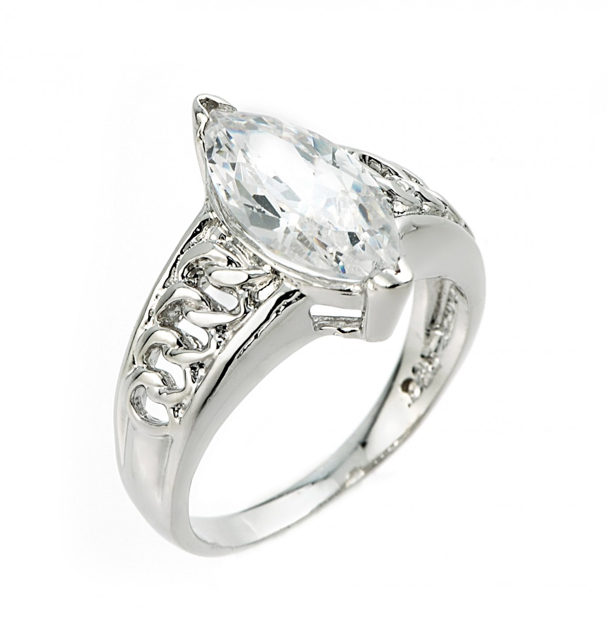CZ Elegant Engagement Ring in Sterling Silver