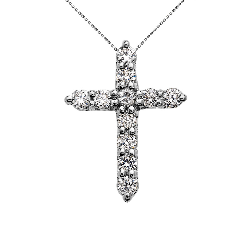 Small Solid 10k White Gold Cross Pendant Necklace