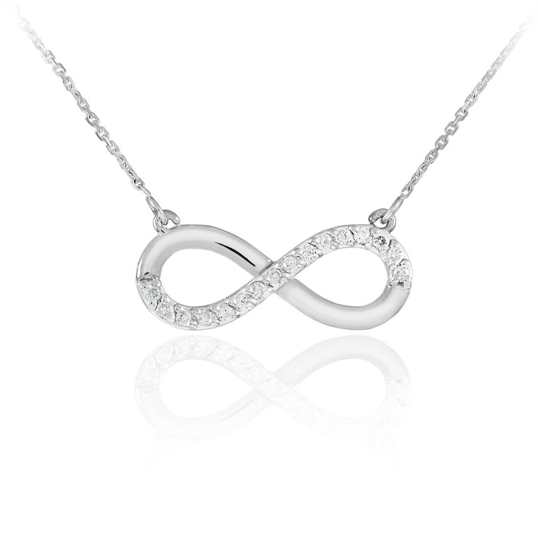 CZ Infinity Pendant Necklace in Sterling Silver