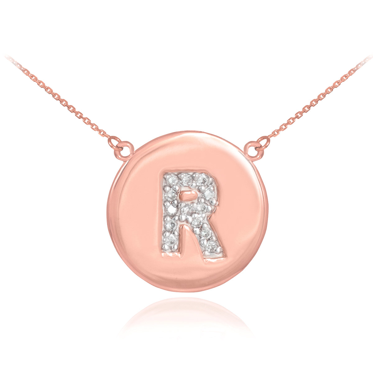 Gold diamond silver jewellery diamond disc letter r pendant diamond disc letter r pendant necklace in 9ct rose gold aloadofball Images