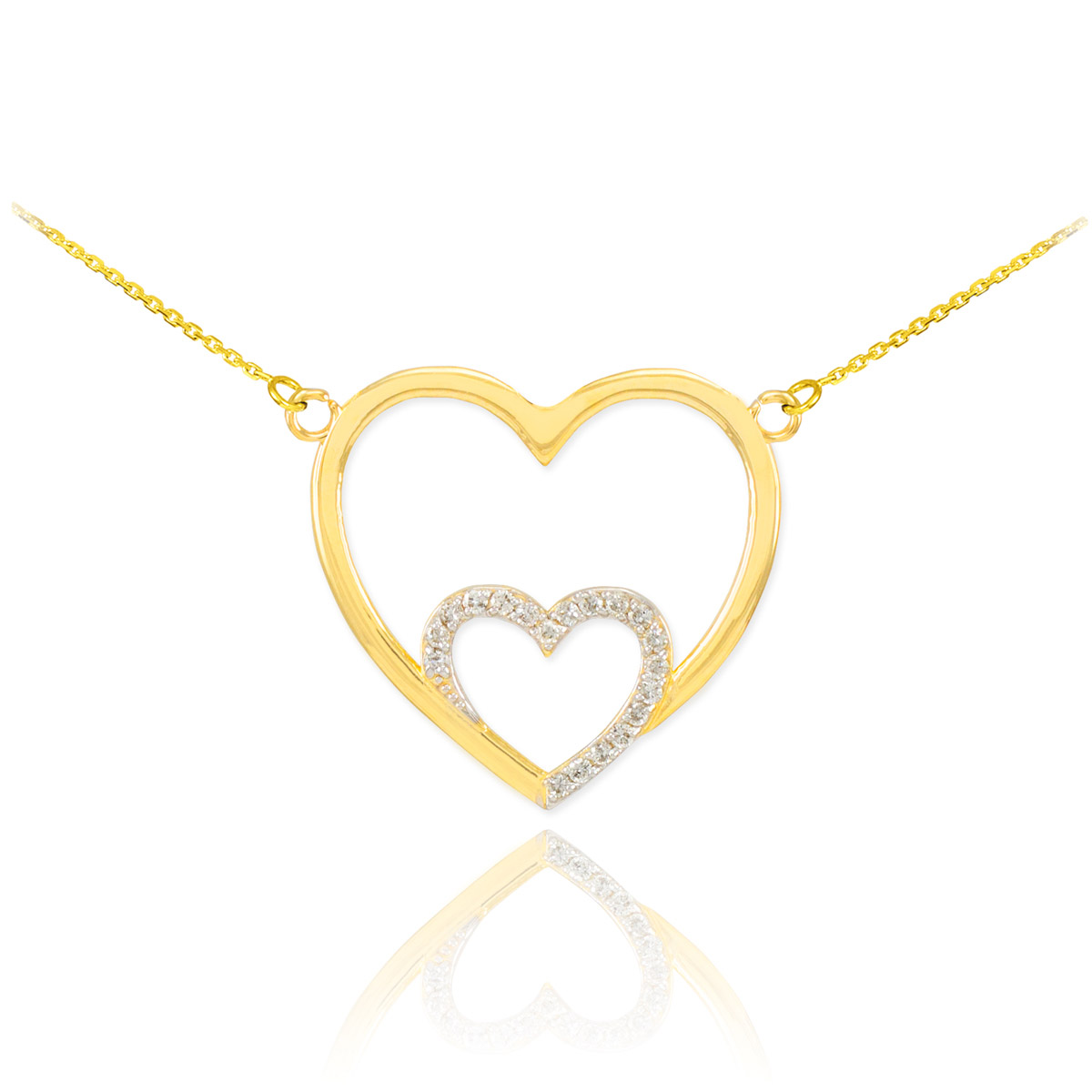 from offer make pendant heart gold gemone double white product diamonds necklace in