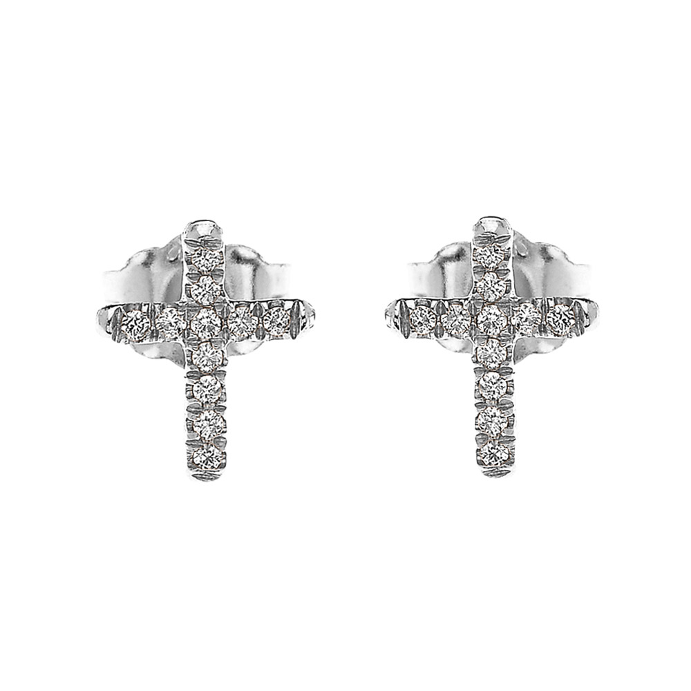 0 08ct Diamond Elegant Stud Cross Earrings In 9ct White Gold