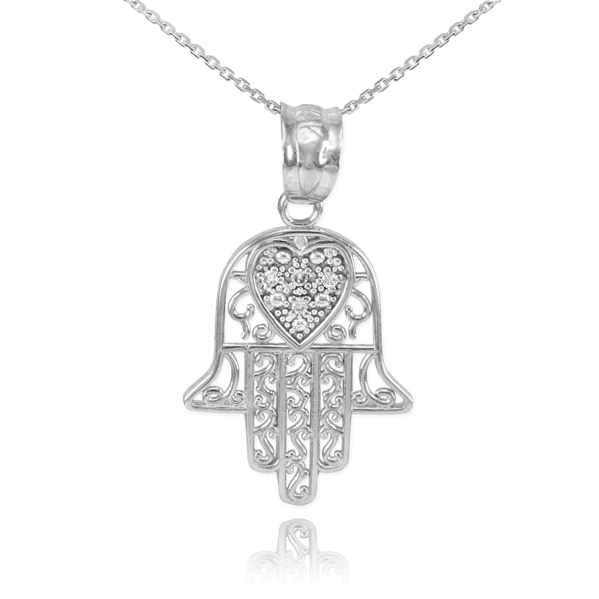 Diamond Filigree Hamsa Pendant Necklace in 9ct White Gold