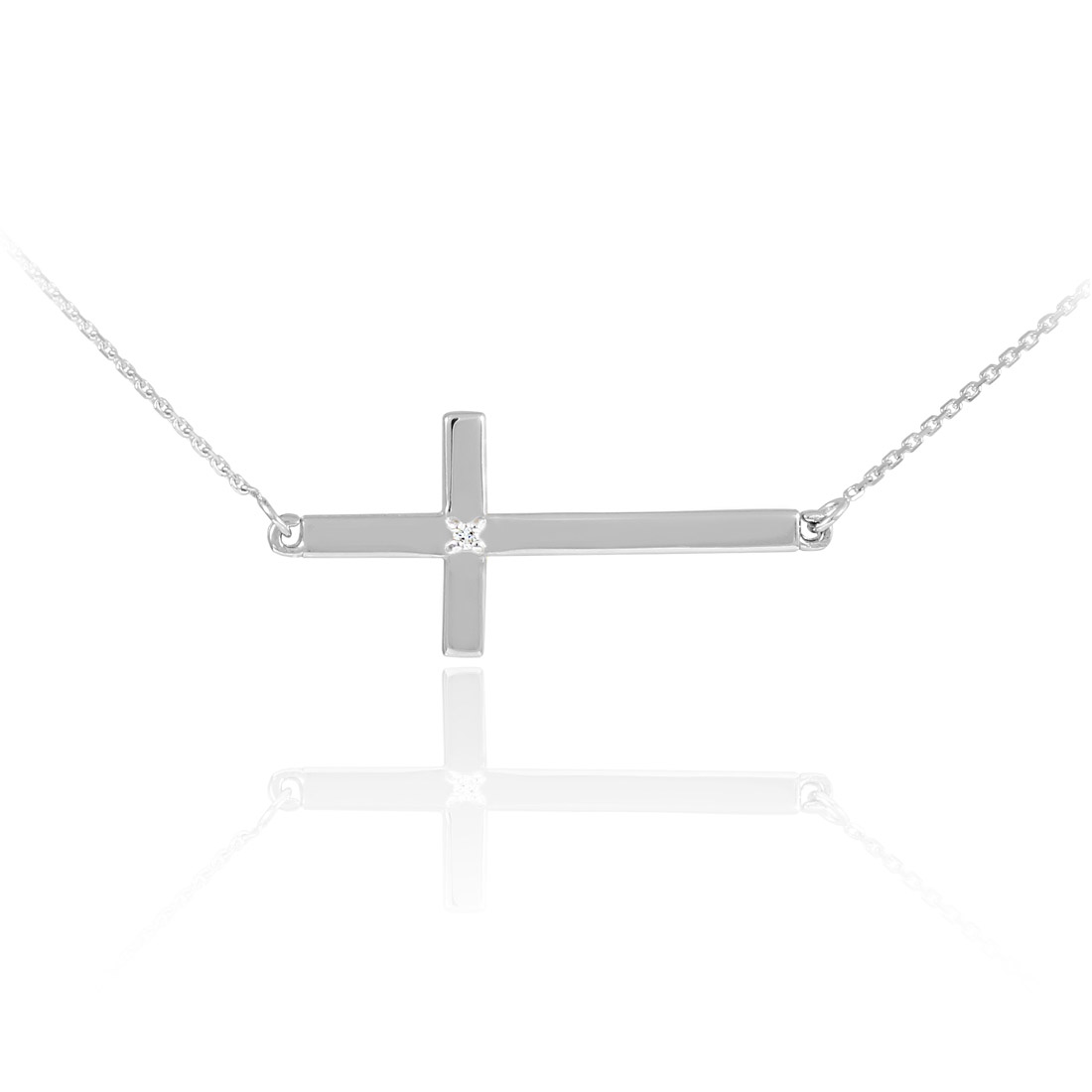 Diamond sideways cross pendant necklace in 9ct white gold gold diamond sideways cross pendant necklace in 9ct white gold gold boutique mozeypictures Images