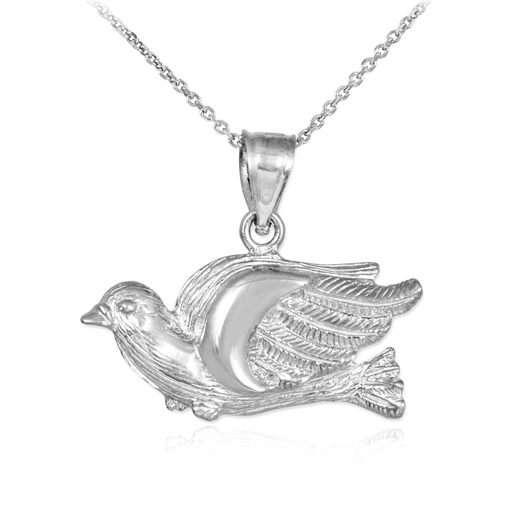 Flying dove pendant necklace in sterling silver gold boutique aloadofball Choice Image