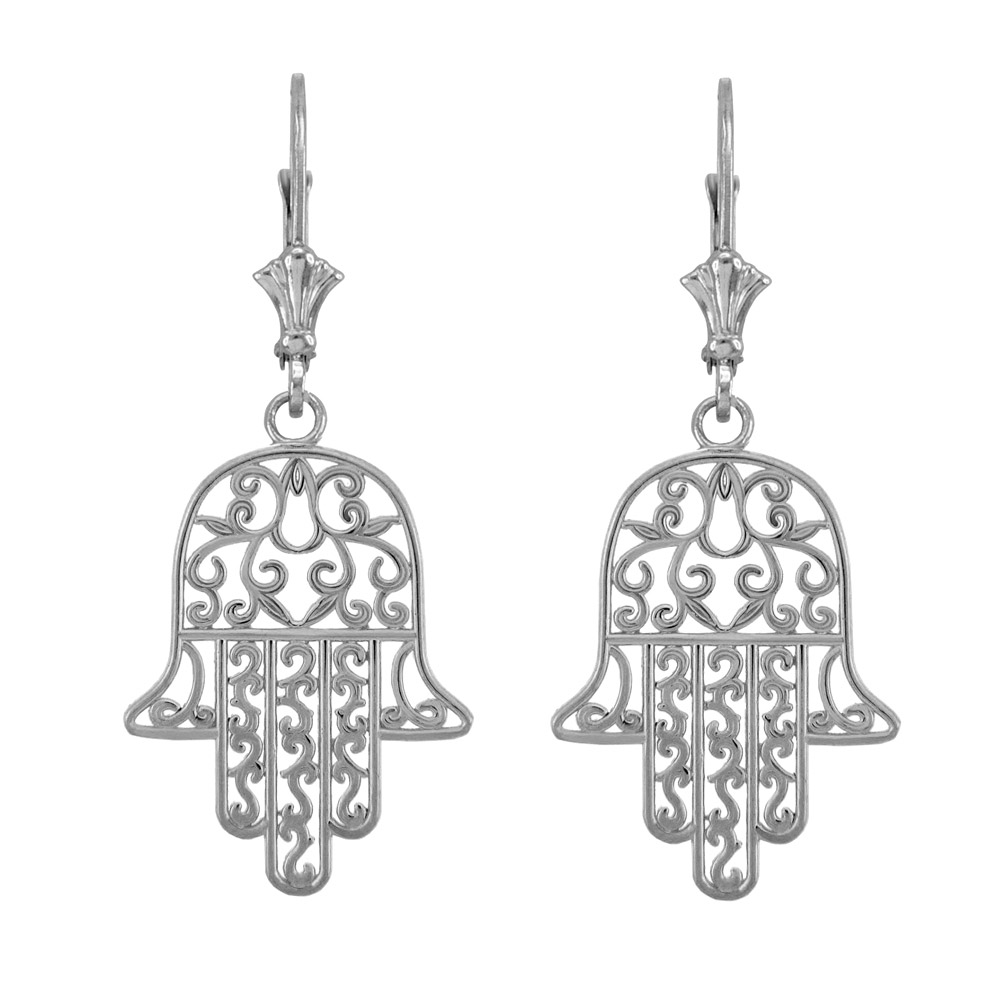 Hamsa Earrings in Sterling Silver