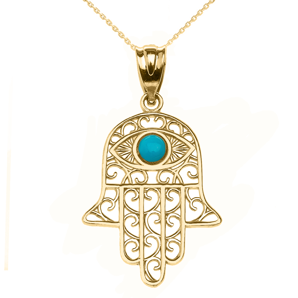 Hamsa Hand Evil Eye Gold Pendant Necklace