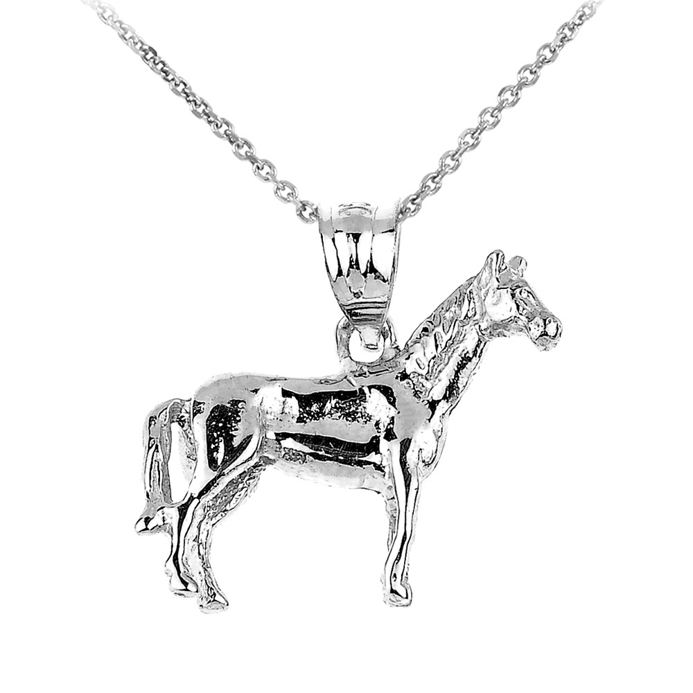 Horse charm pendant necklace in sterling silver gold boutique mozeypictures Gallery