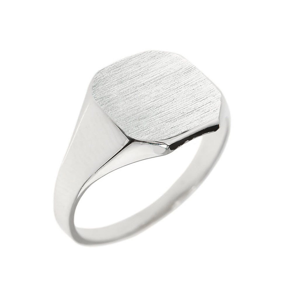 Men's Corner Signet Ring in Sterling Silver
