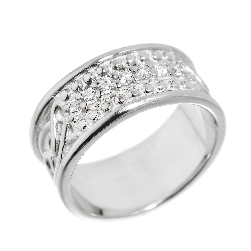 Men's Diamond Knot Wedding Ring in Sterling Silver