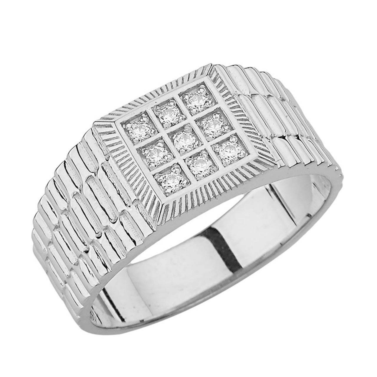 Men S 0 08ct Diamond Watchband Design Ring In Sterling Silver Gold Boutique