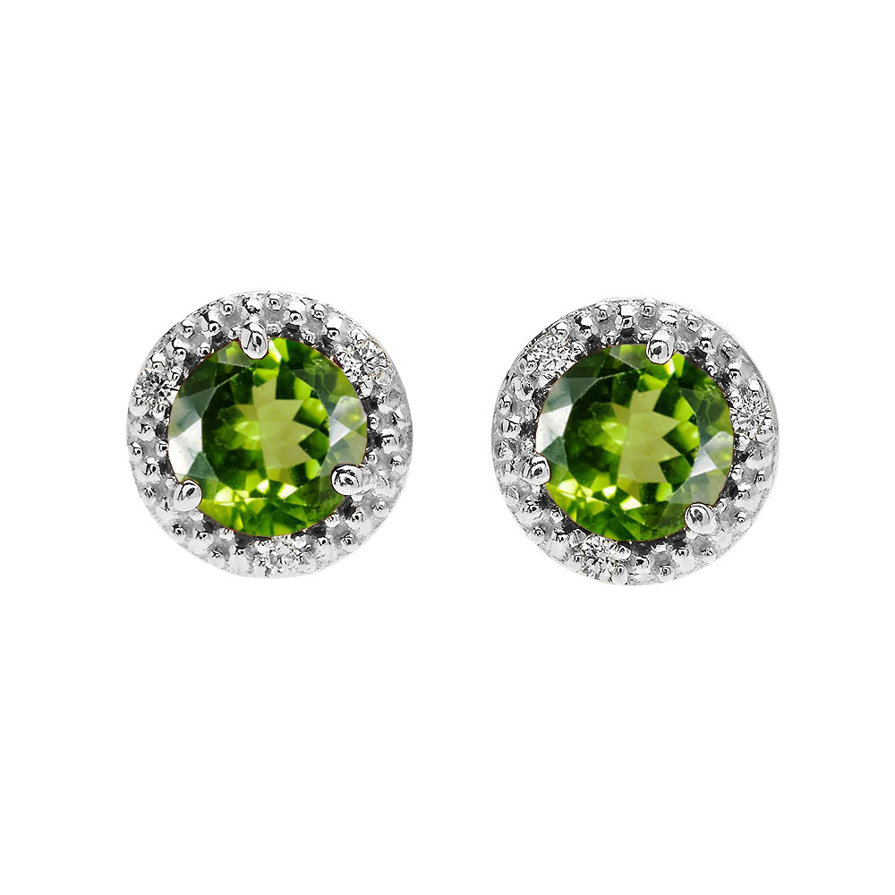 c5767d5e3f1257 1.8ct Peridot and Diamond Halo Stud Earrings in 14K White Gold ...