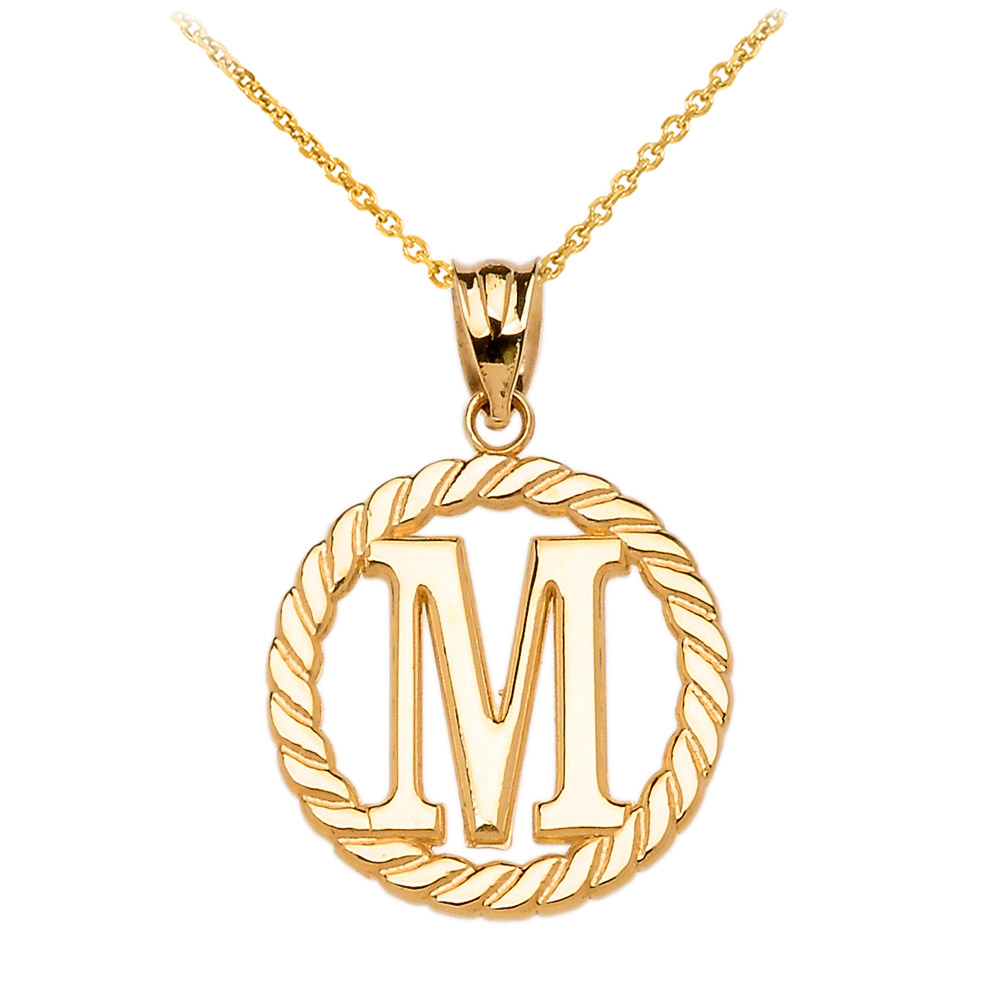 Rope circle letter m pendant necklace in 9ct gold gold boutique aloadofball Image collections