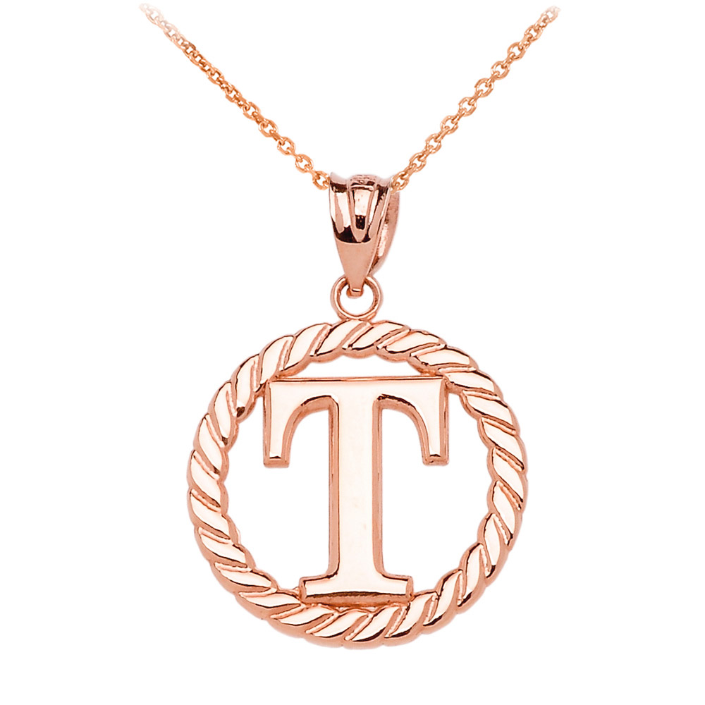 diamond gold t initial pendant letter necklace rose