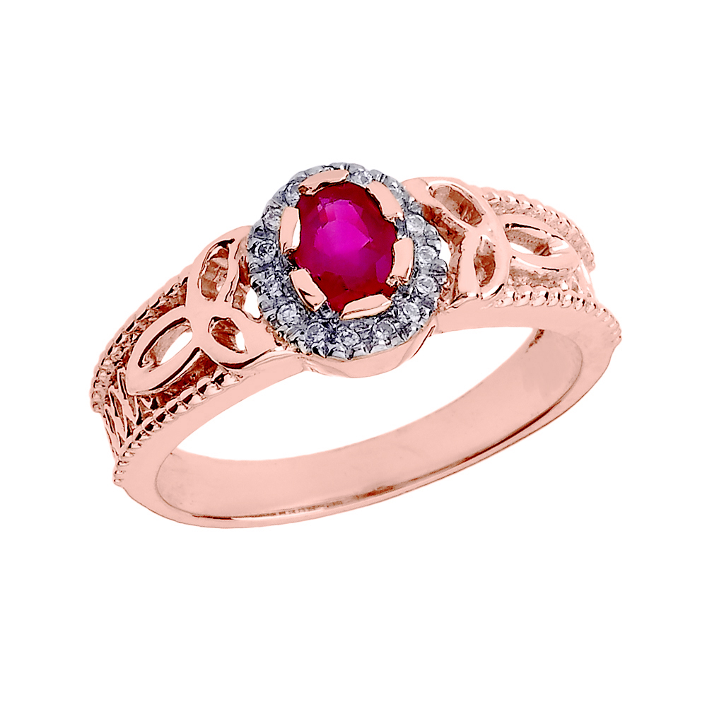 Ruby and Diamond Trinity Knot Ring in 9ct Rose Gold | Gold Boutique