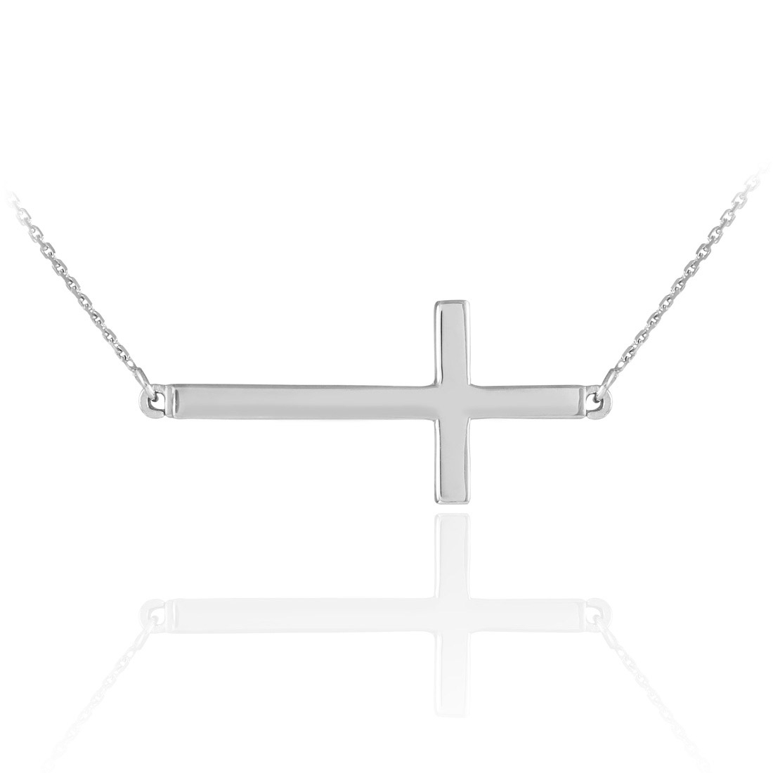 Sideways Cross Pendant Necklace in Sterling Silver