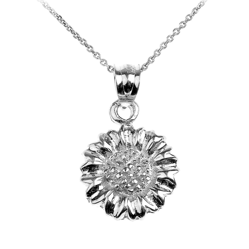 Sunflower Charm Pendant Necklace in Sterling Silver