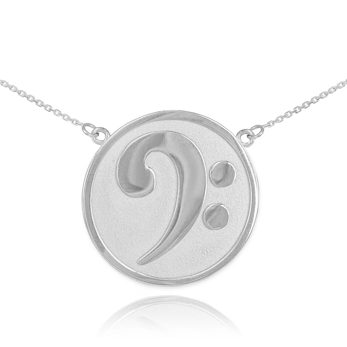 Textured bass clef pendant necklace in sterling silver gold boutique aloadofball Images