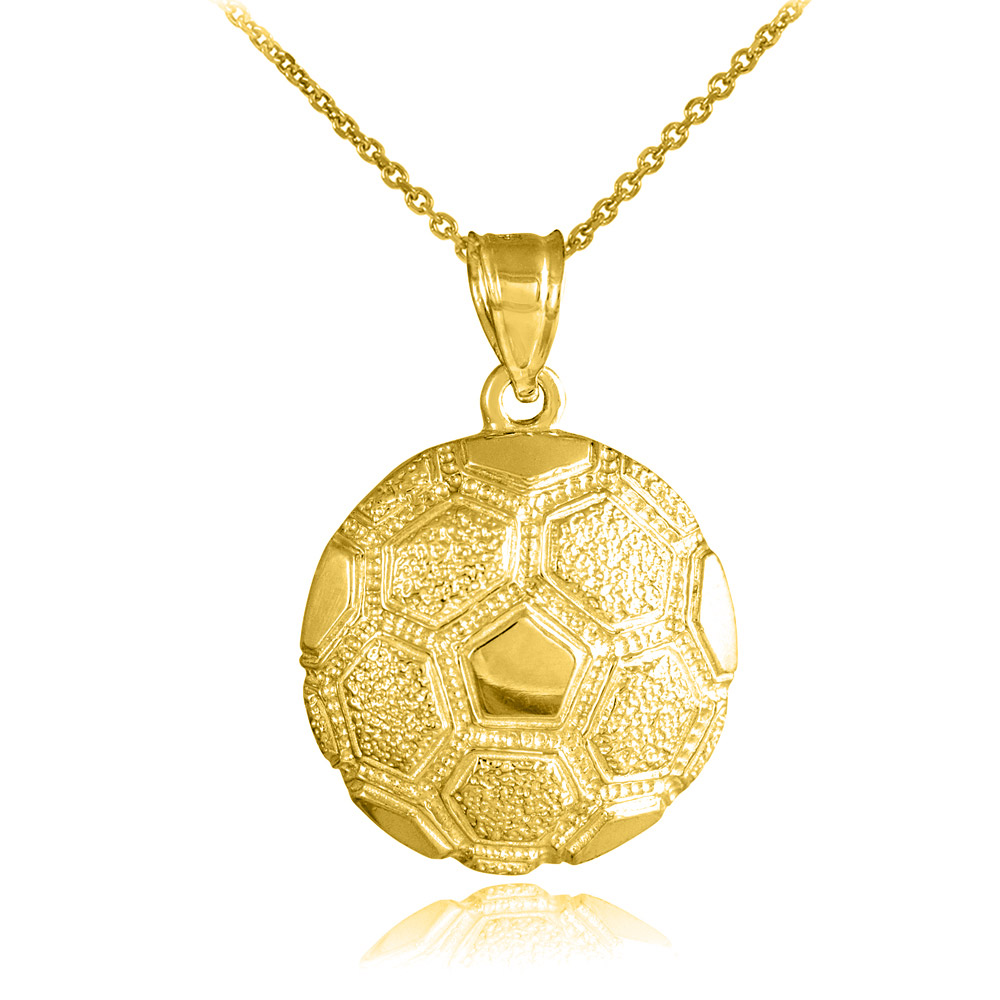 Textured football pendant necklace in 9ct gold gold boutique aloadofball Image collections